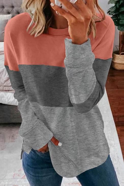 Pythia Womens Colorblock Gray Contrast Stitching Sweatshirt with Slits