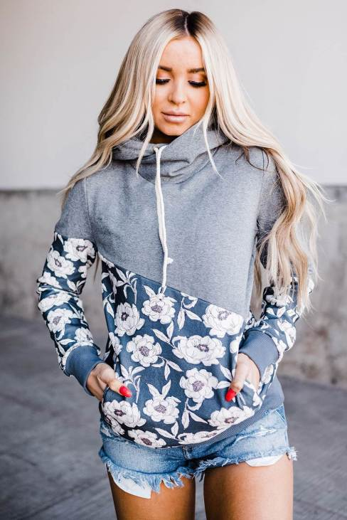 Rhea Women's Gray Floral Splicing Cowl Neck Hoodie