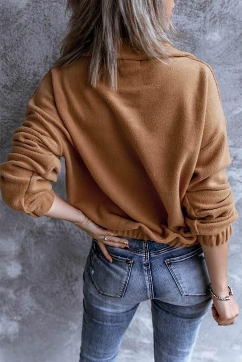 Rosine Women's Turn-down Collar Long Sleeve Zipper Fleece Pullover Sweatshirt