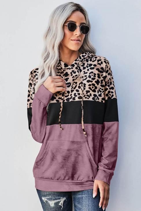 Sally Women's Leopard Tie Dye Rose Colorblock Hoodie