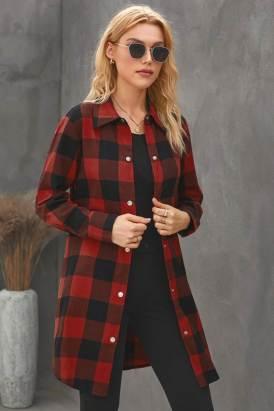 Lillian Women Turn-down Collar Plaid Shirt Coat Red
