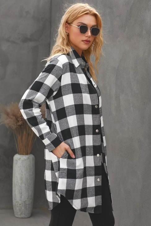 Lillian Womens Turn-down Black Collar Plaid Shirt Coat