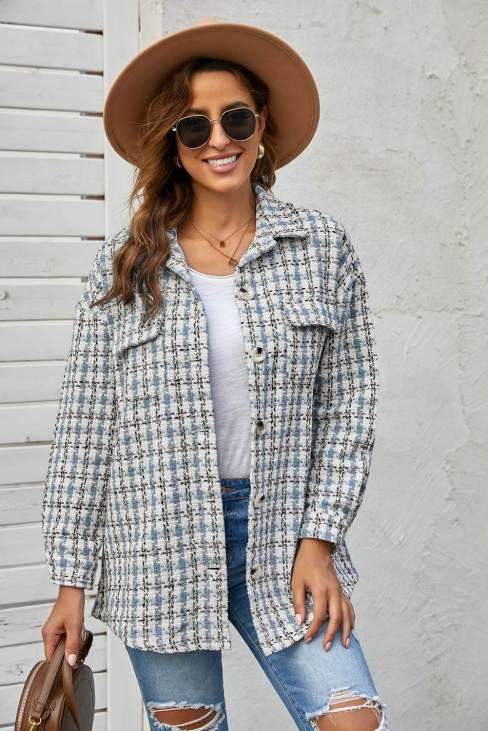 Linda Women Blue Khaki Plaid Print Button Knitted Coat with Pocket