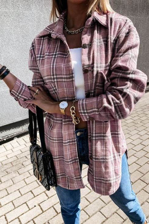 Linda Women Plaid Pattern Buttoned Shirt Coat with Slits Pink