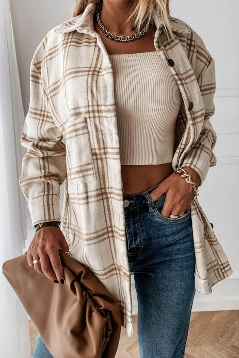 Linda Women's Khaki Plaid Pattern Buttoned Shirt Coat with Slits