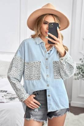 Linnea Women Contrast Leopard Denim Jacket Sky Blue