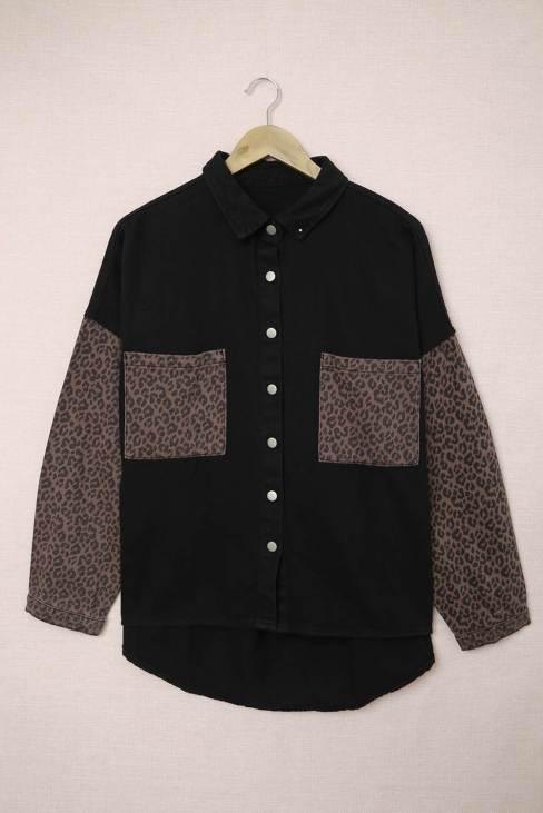 Linnea Womens Contrast Leopard Denim Jacket Black