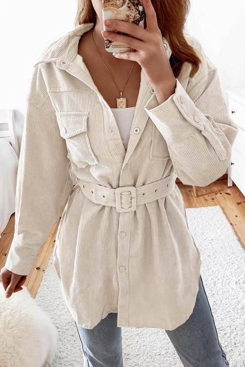 Linnea Women's Waist Belt Corduroy Button-up Jacket