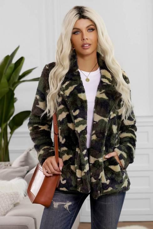 Madge Women's Camo Lapel Collar Open Front Fleece Coat Green