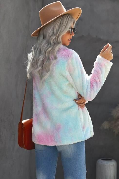 Malina Women's Multi-color Tie Dye Lapel Collar Open Front Fleece Coat