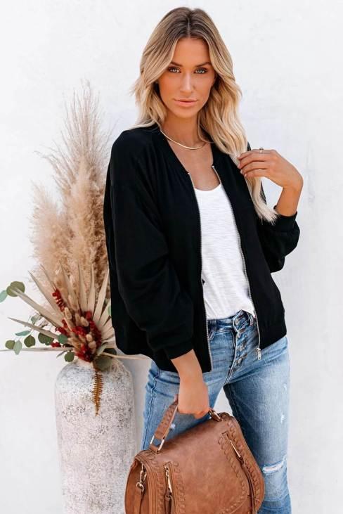 Maren Women's Black Zip-up Jacket with Pocket
