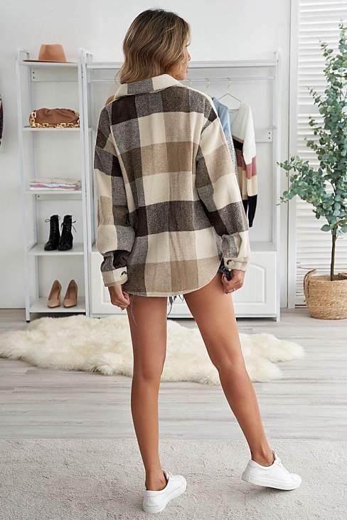 Mathea Women's Khaki Plaid Color Block Buttoned Long Sleeve Jacket with Pocket