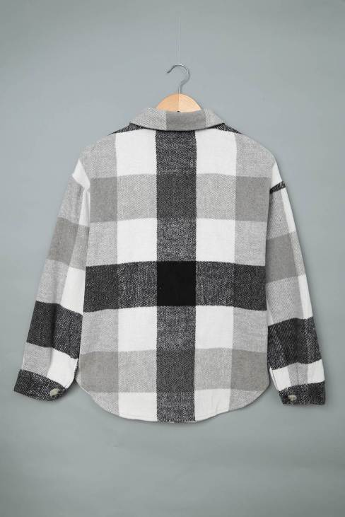 Mathea Womens Plaid Color Block Buttoned Long Sleeve Jacket with Pocket Gray