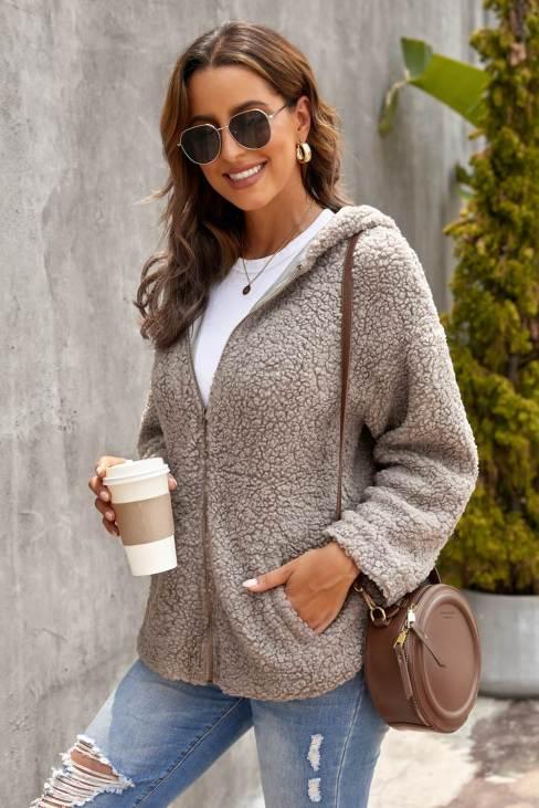 Muriel Women Khaki Zip Up Sherpa Hooded Coat with Pocket