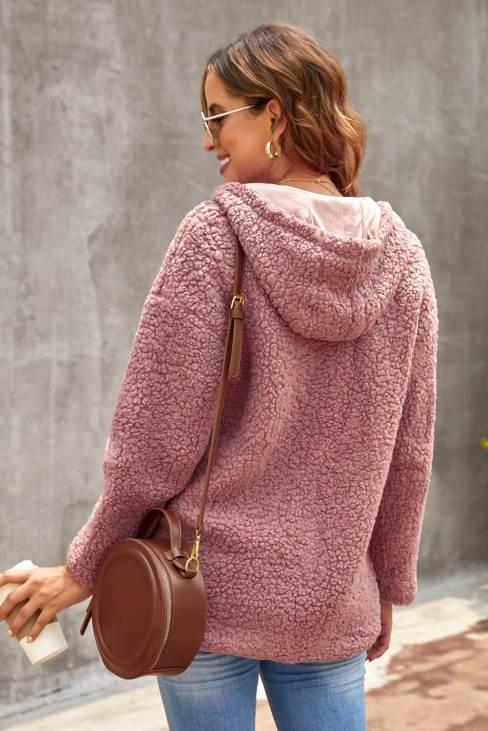Muriel Women's Zip Up Sherpa Hooded Coat with Pocket