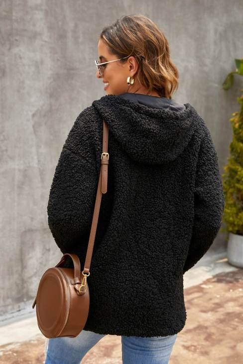 Muriel Womens Zip Up Sherpa Hooded Coat with Pocket Black