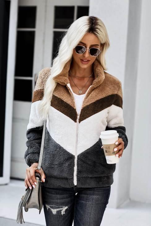 Nafisa Women's Gray Movie Marathon Pocketed Chevron Jacket