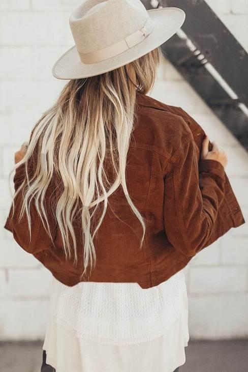 Nancy Women Corduroy Button-Down Jacket with Pocket Brown