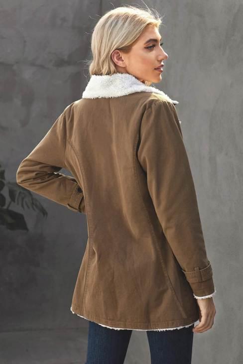 Nancy Womens Khaki Lapel Collar Button Fleece Jacket