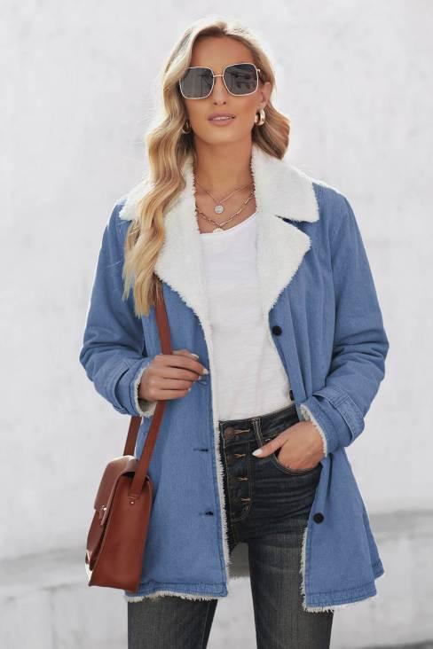 Naomi Women's Lapel Collar Button Fleece Jacket Sky Blue