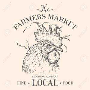 Farmers market emblem with rooster cock head. Monochrome medieval set vintage engraving sign isolated on white background. Sketch vector hand drawn illustration. Locally grown, fresh food retro style.