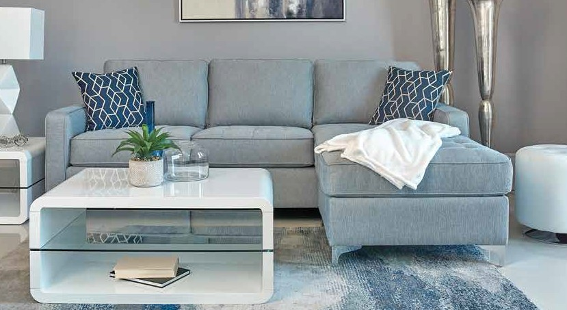 509327 2 pc nashua french blue woven fabric sectional sofa with reversible chaise