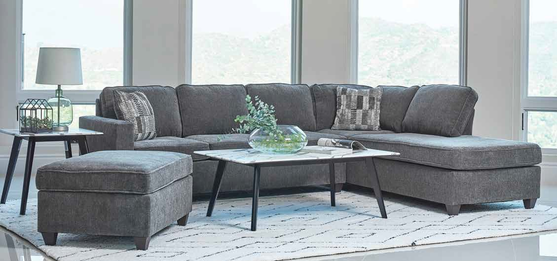 509347 2 pc mccord dark grey chenille fabric sectional sofa with reversible chaise