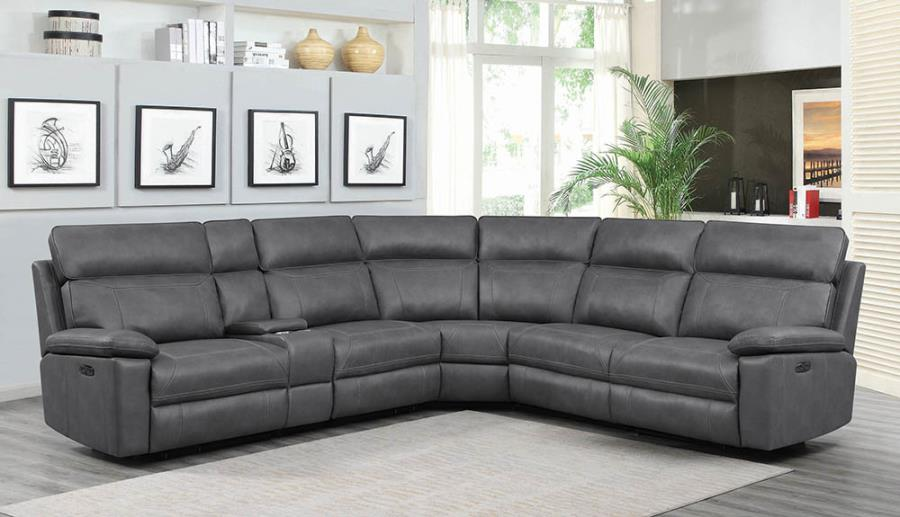 603270pp 6 pc red barrell studio albany gray leather gel match modular sectional sofa with power motion recliners