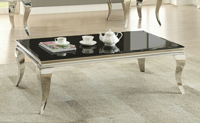 705018 wildon chrome finish and beveled black glass top coffee table