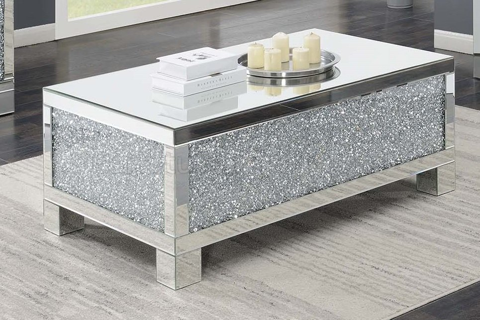 722498 rosdorf park lysette silver chrome metal frame coffee table with crystal and mirror accents