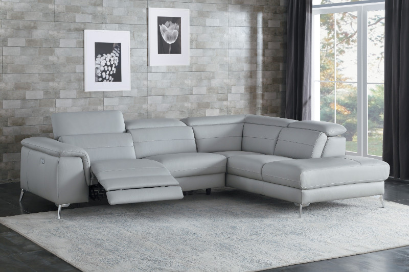 homelegance he 8256gy 2 pc cinque gray top grain leather sectional sofa with power reclining foot rest and chaise