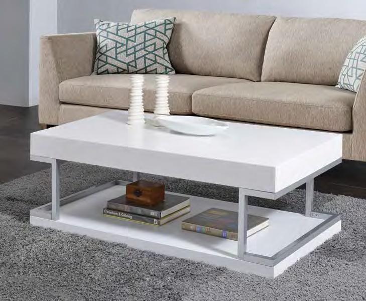 acme 83125 orren ellis silikou armour modern white high gloss finish coffee table