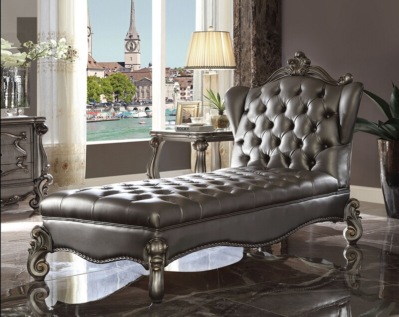 acme 96825 versailles ii antique platinum finish wood silver faux leather chaise lounger