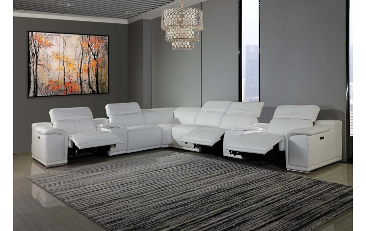 gu di9762wh 8pc 8 pc orren ellis florence white italian leather power reclining sectional sofa adjustable headrests