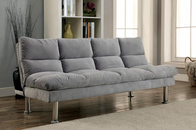 cm2902gy saratoga i light gray finish microfiber pillow top futon sofa