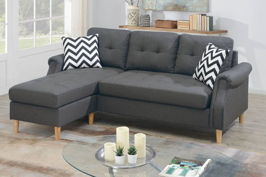 poundex f6459 2 pc leta blue grey polyfiber fabric apartment size sectional sofa reversible chaise