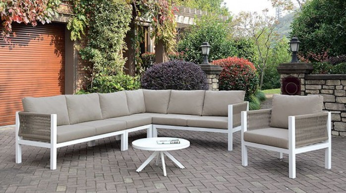 cm os2138 4 pc nailwell sasha white aluminum frame taupe fabric cushions outdoor patio sectional