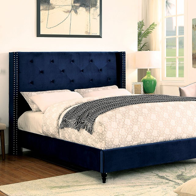 cm7677nv anabelle navy blue fabric and tufted tall queen headboard bed frame set