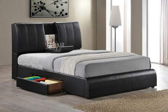 acme 21270q kofi black leather like vinyl modern style queen bed frame set with built in center tray on headboard