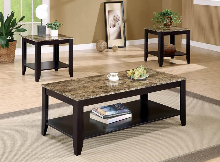 700155 3 pc red barrel studio schoemann espresso finish wood faux marble top coffee table set