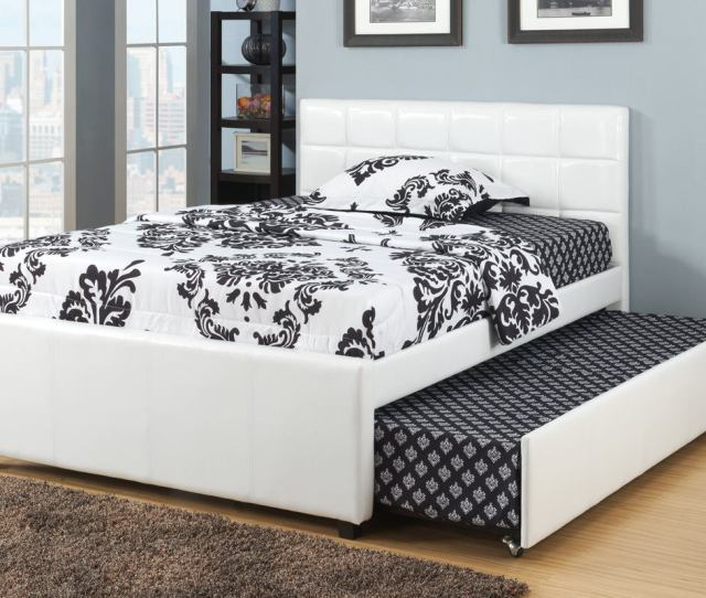 F9216f White Faux Leather Full Size Bed With Twin Size Trundle Bed Slat Kits Included