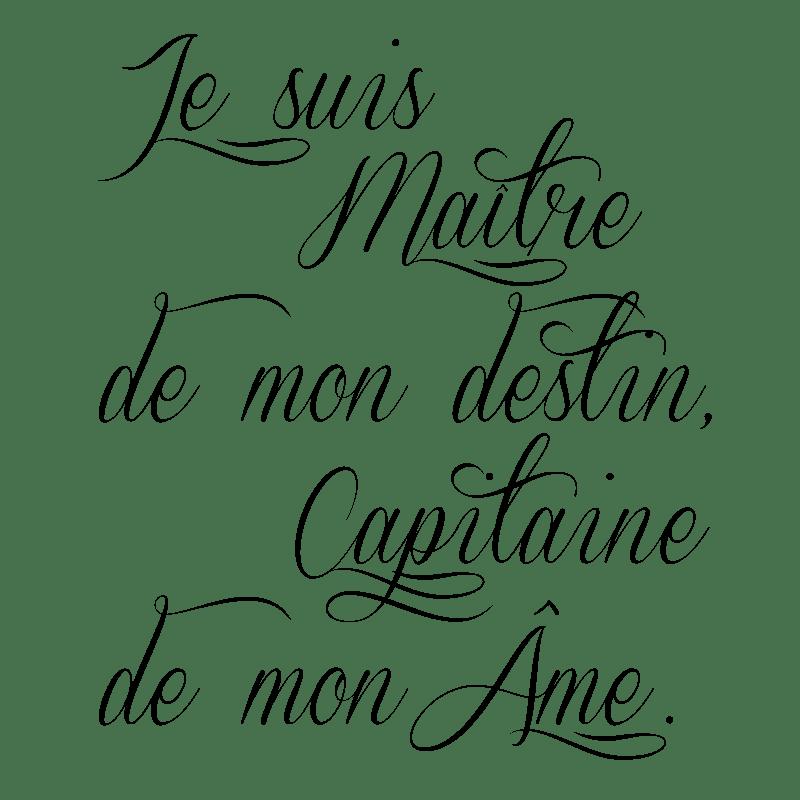 Sticker Citation Je Suis Matre De Mon Destin