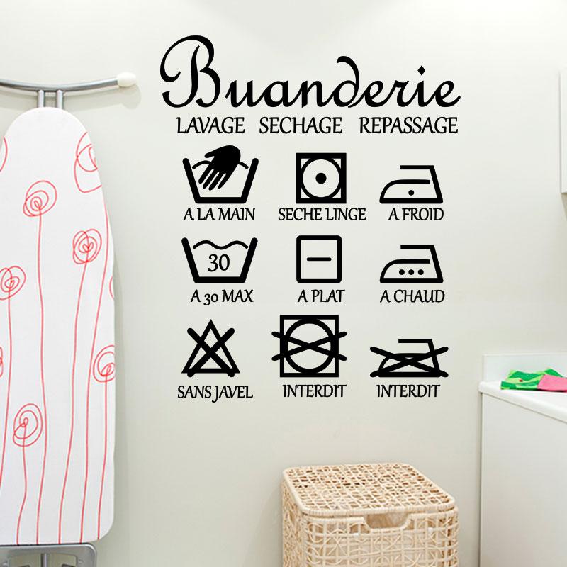 sticker washroom buanderie lavage sechage