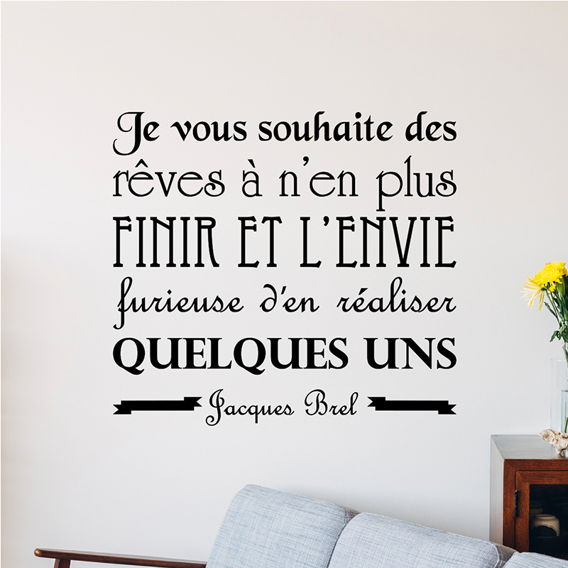 Sticker Citation Je Vous Souhaite Des Rves Jacques Brel