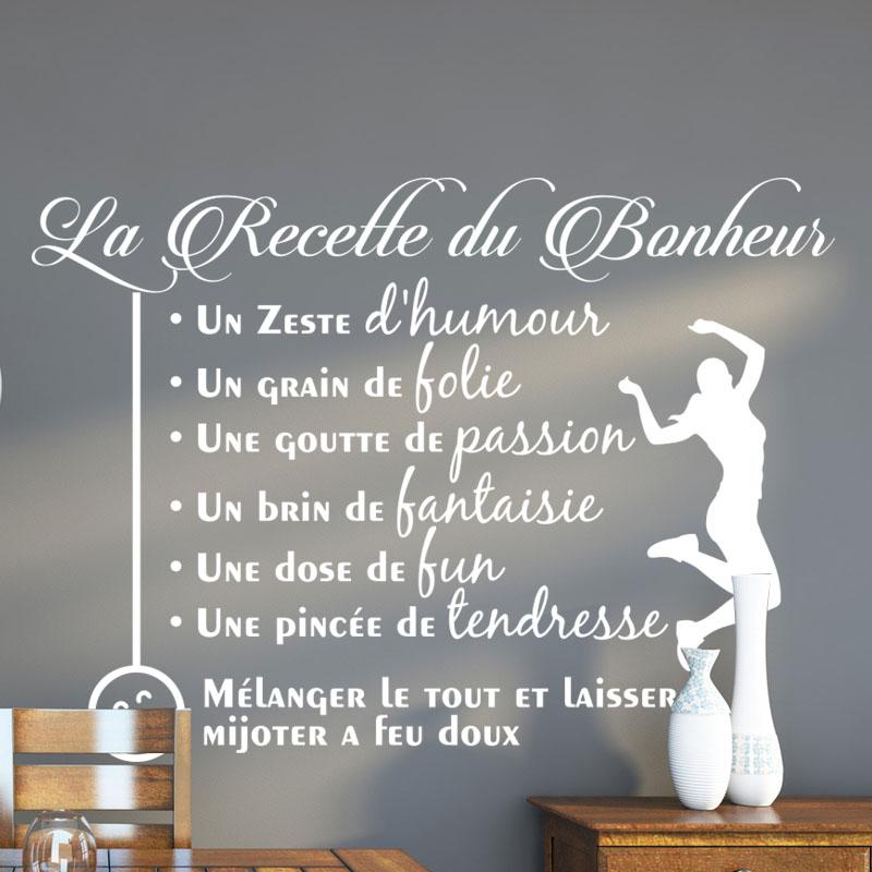 Sticker Citation La Recette Du Bonheur Stickers CUISINE