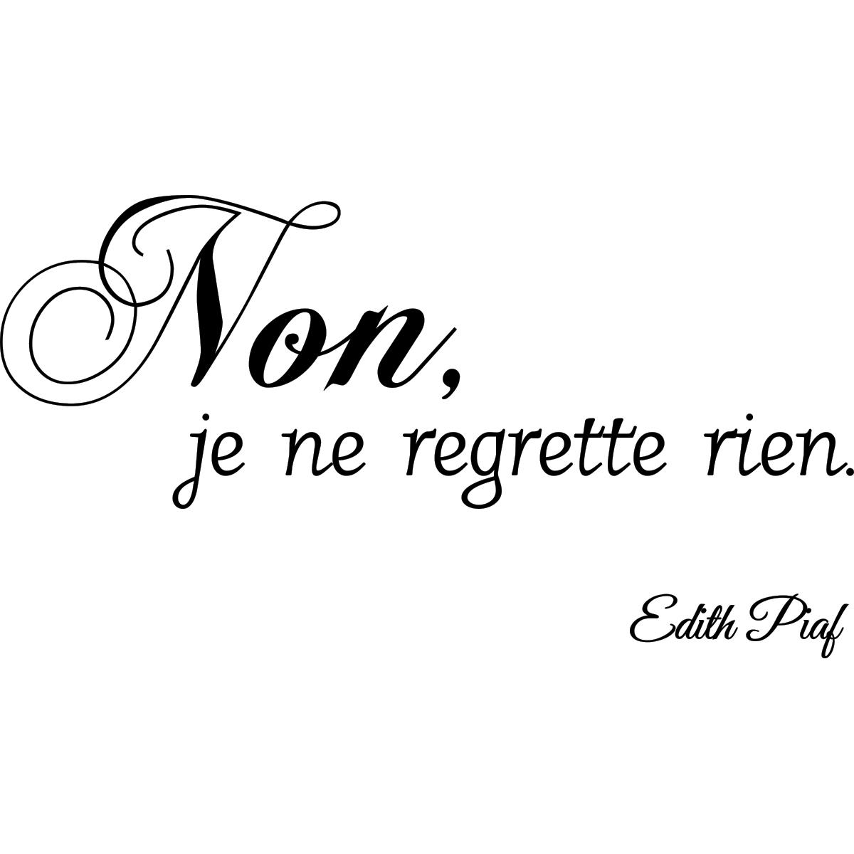 Sticker Citation Non Je Ne Regrette Rien Edith Piaf