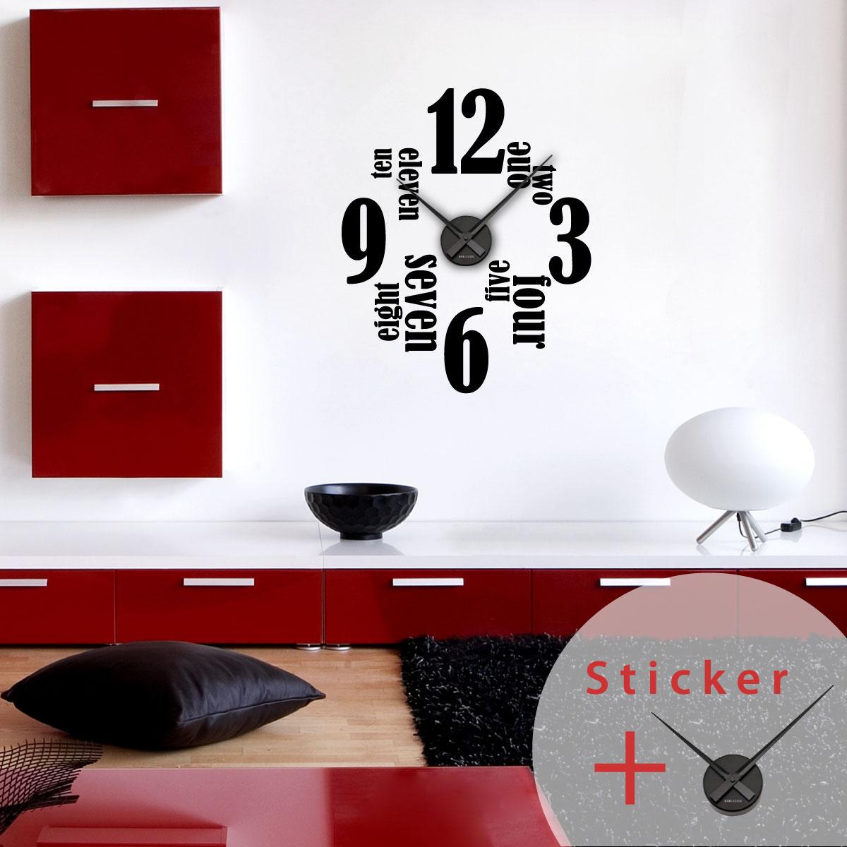 Sticker Horloge Anglais Et Chiffres 12 3 6 Et 9