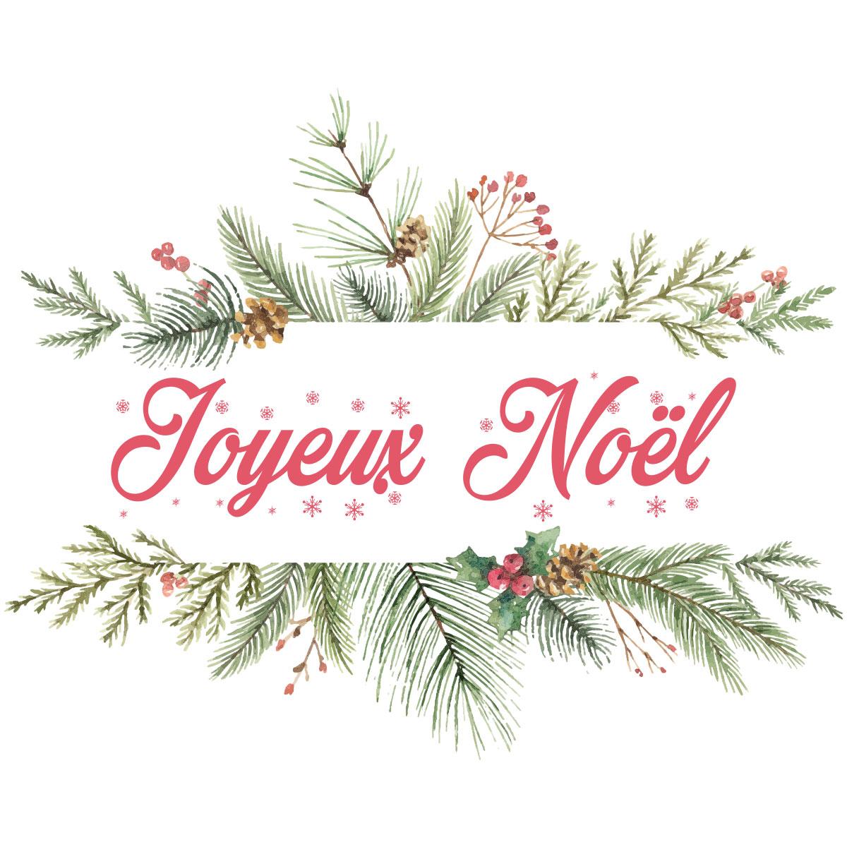 Sticker Nol Joyeux Nol Branches De Sapin Stickers