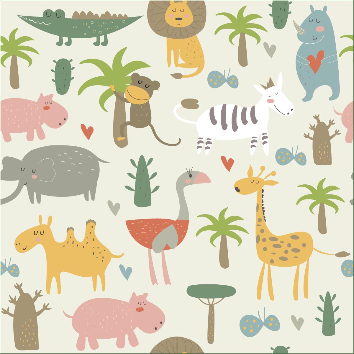 sticker papier peint enfant animaux de la foret tropical