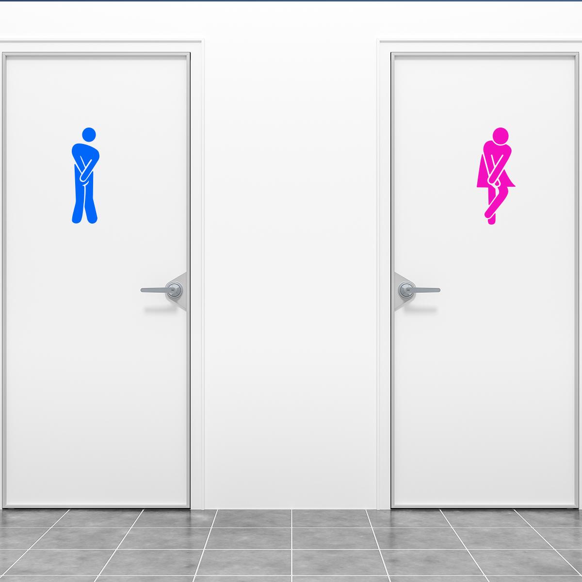 Sticker Porte Toilettes Homme Bleu Et Femme Rose